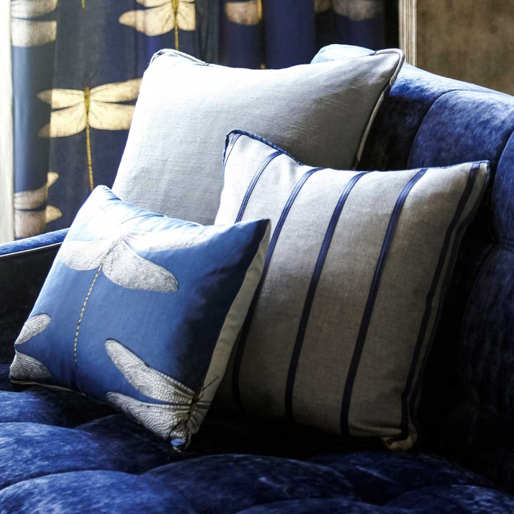 Harelquin-Palmetto-lois-fabric-stripe-cushion--blue-sofa